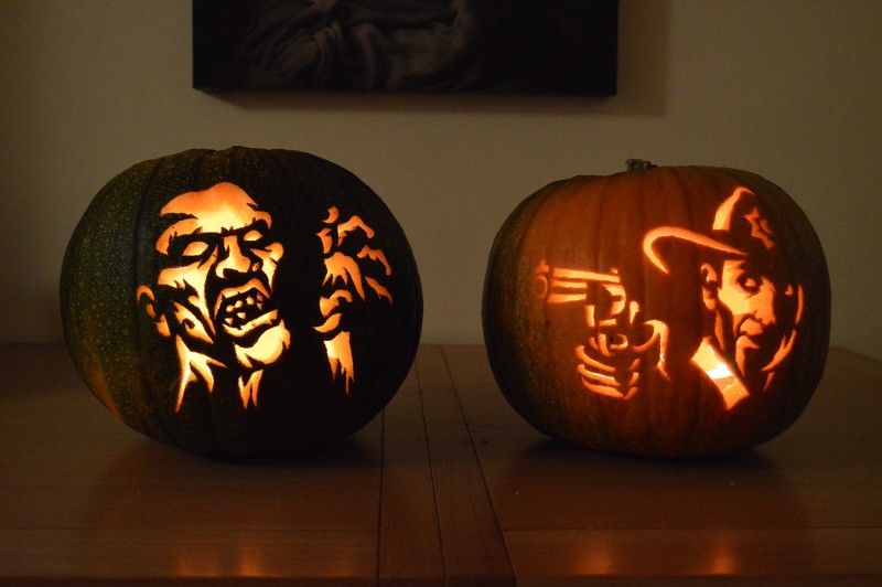 Pumpkin carving patterns and stencils zombie pumpkins