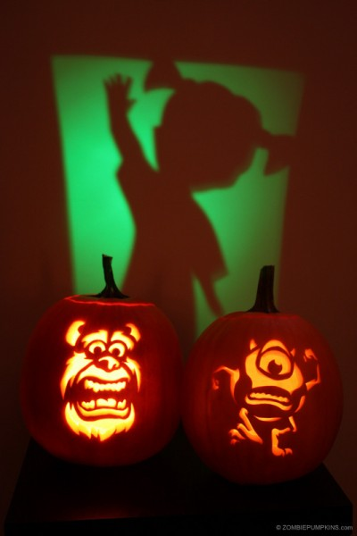 sully pumpkin template - pumpkin carving patterns and stencils zombie pumpkins