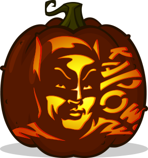 Adam West Batman pumpkin pattern
