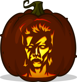 David Bowie pumpkin pattern