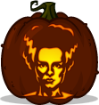 The Bride of Frankenstein pumpkin pattern